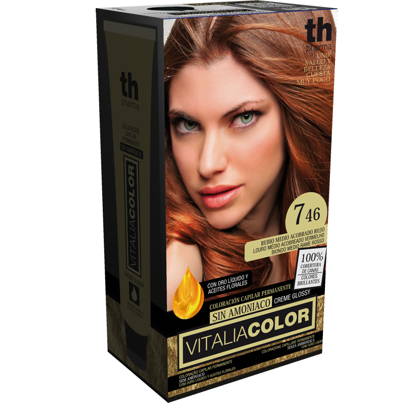 TH PHARMA VITALIA COLOR 7.46 RUBIO MEDIO ACOBRADO ROJO