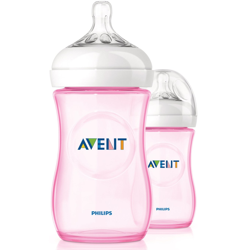 AVENT BIBERÓN NATURAL 330 ML TETINA DE FLUJO MEDIO COLOR ROSA
