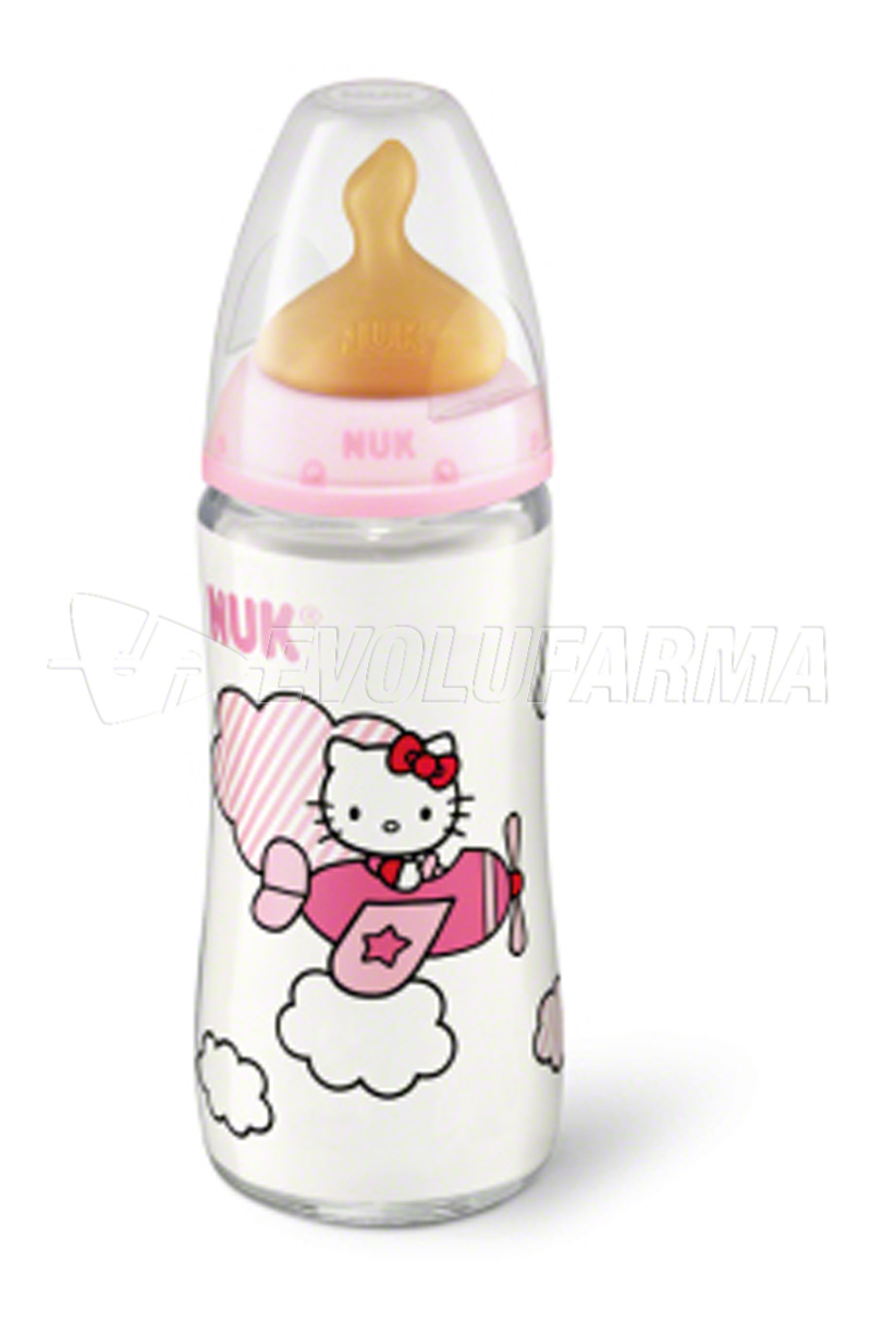 NUK FIRST CHOICE, BIBERÓN HELLO KITTY -LATEX-. Capacidad 300 ml.
