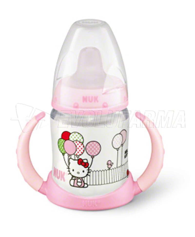 NUK FIRST CHOICE, BIBERÓN ENTRENA HELLO KITTY -SILICONA-. Capacidad 150 ml.