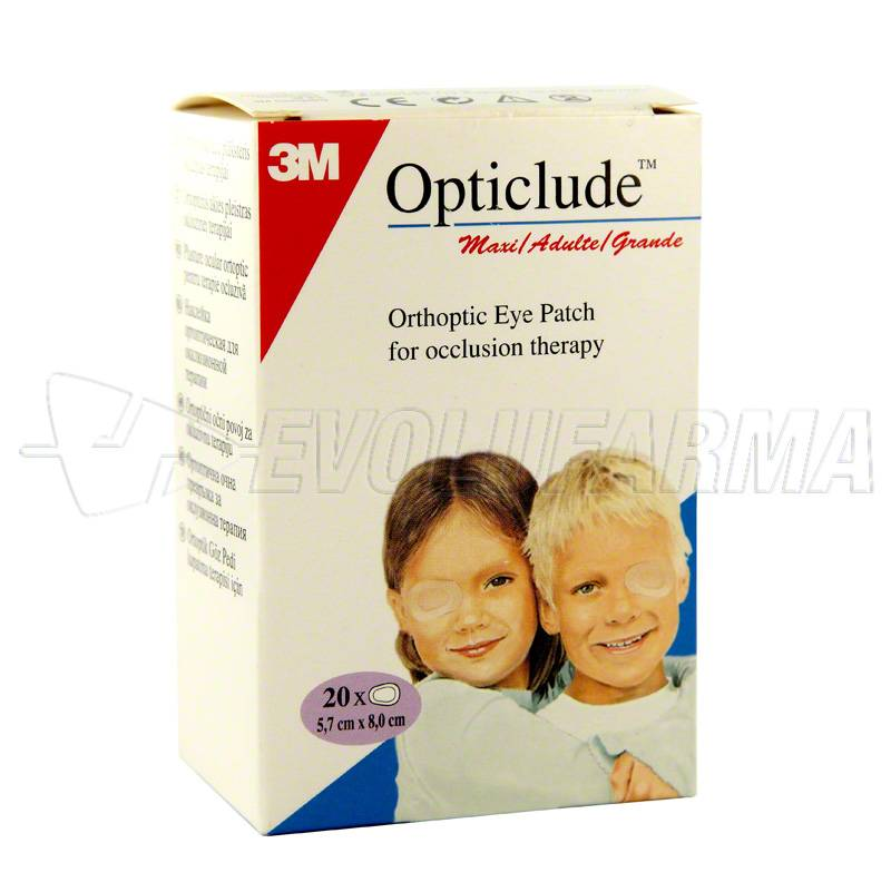 PARCHES OCULARES OPTICLUDE. Caja 20 Parches (Grande: 8 x 5,7cm)