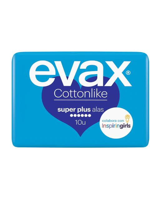 10 Compresas con Alas Super Plus Cottonlike Evax