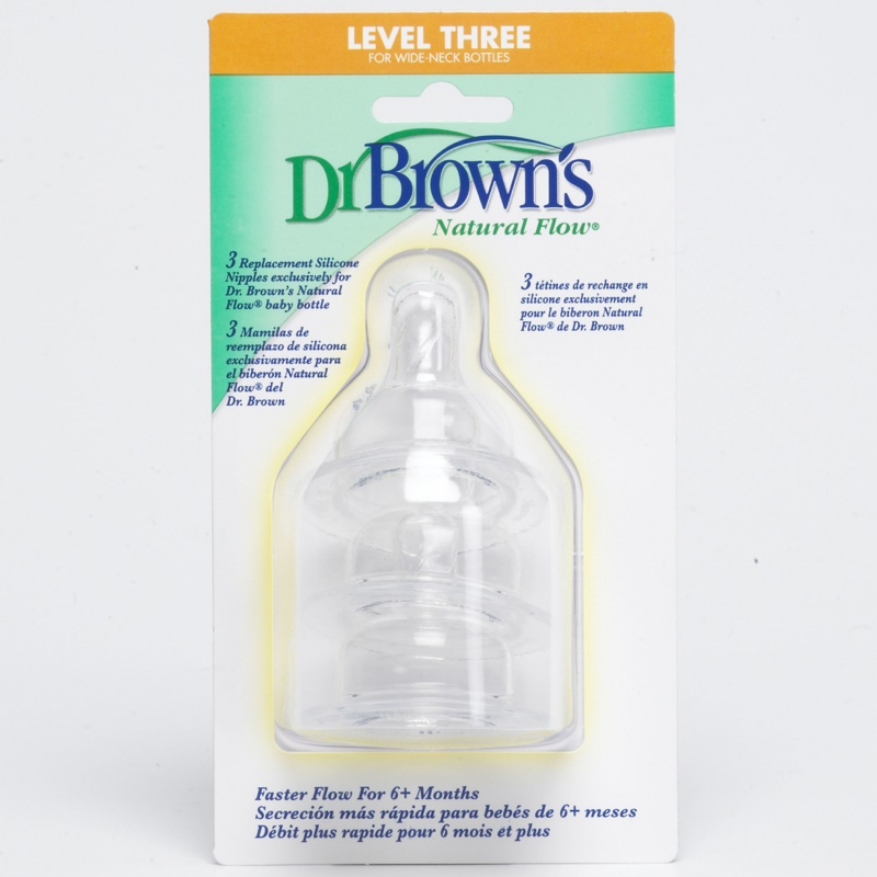 DR. BROWN'S NATURAL FLOW. TETINA DE SILICONA ESTANDAR NIVEL 3-3UDS